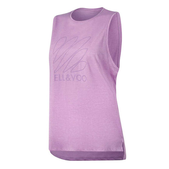 Ell & Voo Womens Taylor Logo Muscle Tank, Purple, rebel_hi-res