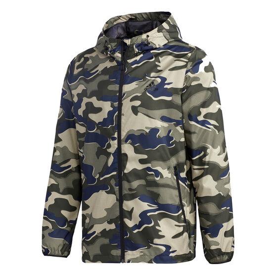 adidas Mens Must Have Camo Windbreaker Jacket, Blue, rebel_hi-res