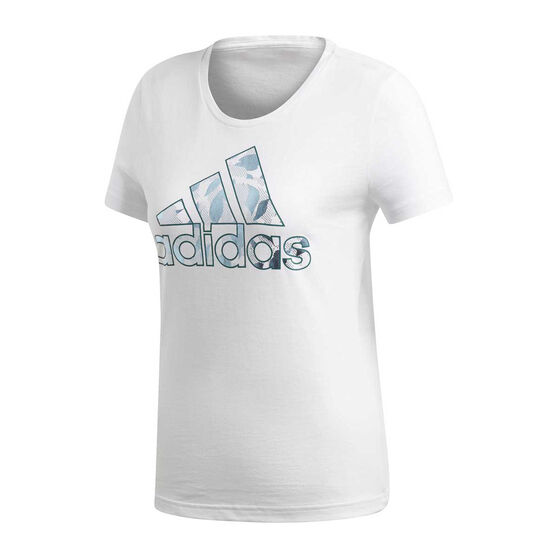 adidas Womens Foil Badge Of Sport Logo Tee White XS, White, rebel_hi-res