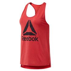 Reebok Womens Workout Ready Supremium Logo Tank Red XS, Red, rebel_hi-res