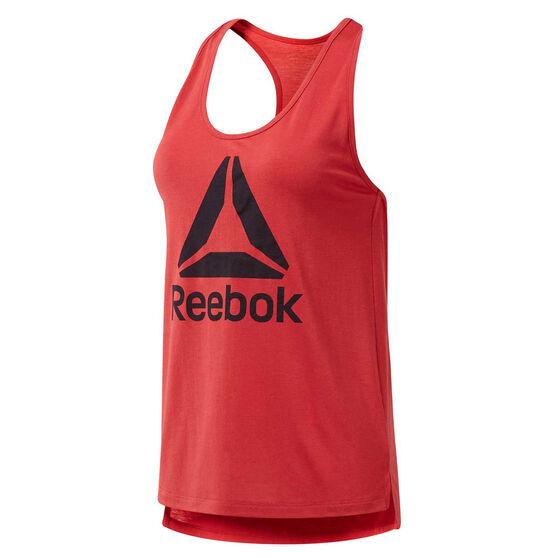 Reebok Womens Workout Ready Supremium Logo Tank, Red, rebel_hi-res