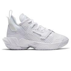 Jordan Why Not Zer0.4 Triple White Kids Basketball Shoes White US 4, White, rebel_hi-res