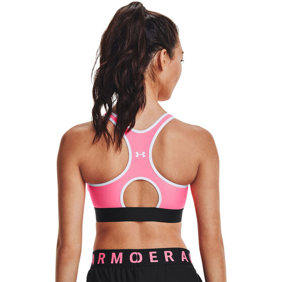 Under Armour Womens Armour Mid Keyhole Bra, Pink, rebel_hi-res