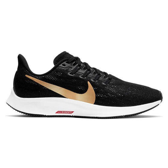 Nike Air Zoom Pegasus 36 Womens Running Shoes, Black / Gold, rebel_hi-res