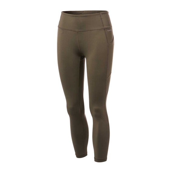Ell & Voo Womens Kara 7/8 Pocket Tights, Khaki, rebel_hi-res