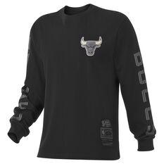 Mitchell & Ness Chicago Bulls Outline Longsleeve Tee Black S, Black, rebel_hi-res