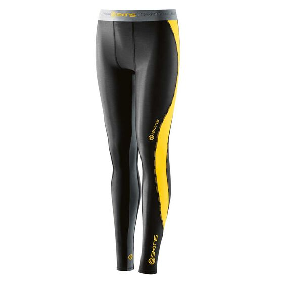 Skins Boys DNAmic Long Tights, Black / Yellow, rebel_hi-res