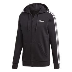 adidas Mens Essentials 3-Stripes Full Zip French Terry Hoodie Black / White S, Black / White, rebel_hi-res