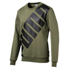 Puma Mens Big Logo Crew Sweater Olive S, Olive, rebel_hi-res