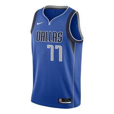 Dallas Mavericks Luka Doncic Mens Icon Edition Swingman Jersey, Blue, rebel_hi-res