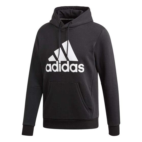 1c09149424e558 adidas Mens Must Haves Badge of Sport Fleece Pullover Hoodie, Black /  White, rebel_hi