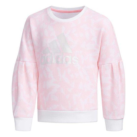 adidas Girls Crew Sweatshirt, Pink / White, rebel_hi-res