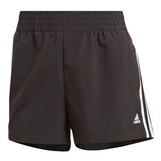 adidas Womens Essentials Relaxed Woven 3-Stripes Shorts Black XS, Black, rebel_hi-res