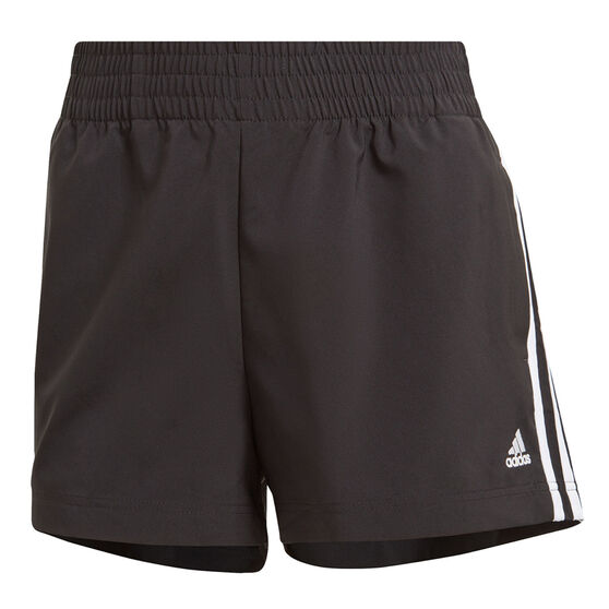 adidas Womens Essentials Relaxed Woven 3-Stripes Shorts, Black, rebel_hi-res