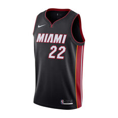 Nike Miami Heat Jimmy Butler 2019/20 Mens Icon Edition Swingman Jersey Black / Red S, Black / Red, rebel_hi-res