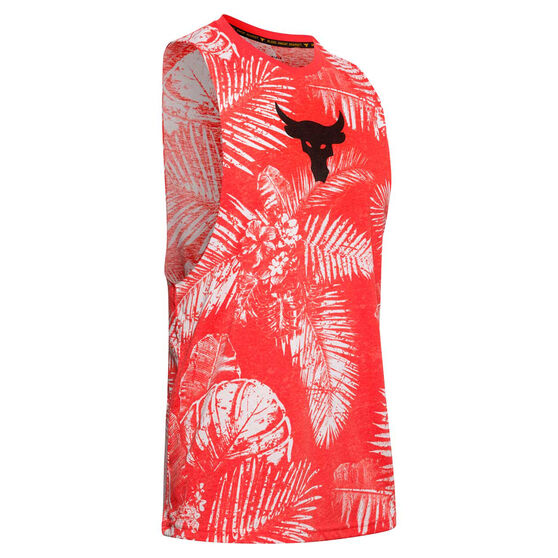 Under Armour Mens Project Rock Aloha Tank, Red, rebel_hi-res
