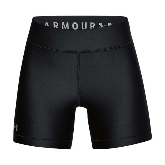 Under Armour Womens HeatGear Armour Shorts, Black / Silver, rebel_hi-res