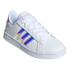 adidas Grand Court Kids Casual Shoes, White/Grey, rebel_hi-res