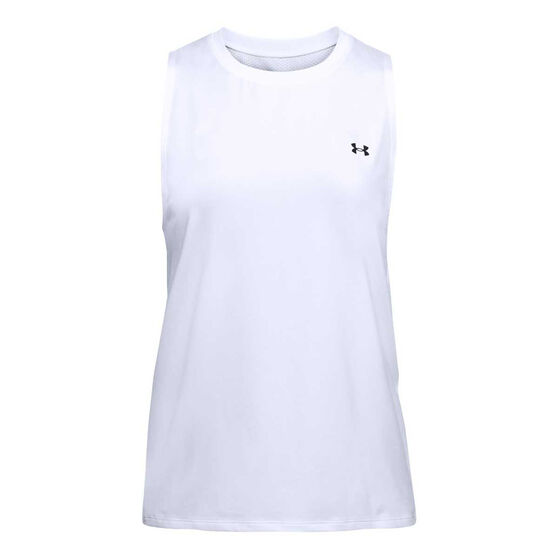 Under Armour Womens Basetball Tank, White, rebel_hi-res