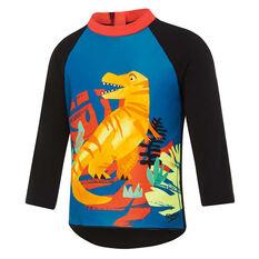 Speedo Boys Jurassic Jungle Longsleeve Rash Vest, Black, rebel_hi-res
