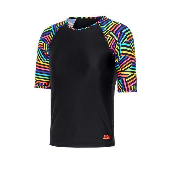 Zoggs Girls Ignite Short Sleeve Rash Vest, Black / Multi, rebel_hi-res
