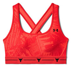 Under Armour Womens Project Rock Armour Crossback Sports Bra Red XS, Red, rebel_hi-res