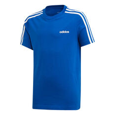 adidas Boys Essential 3 Stripes Tee Blue / White 6, Blue / White, rebel_hi-res
