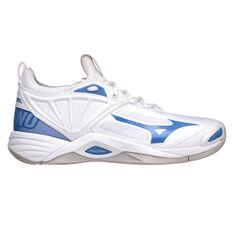 Mizuno Wave Momentum 2 Womens Netball Shoes White/Blue US 6.5, White/Blue, rebel_hi-res