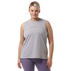 Ell & Voo Womens Taylor Logo Muscle Tank, Grey, rebel_hi-res