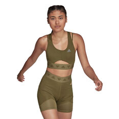 adidas Womens Hyperglam Light Support Sports Bra Khaki XS, Khaki, rebel_hi-res