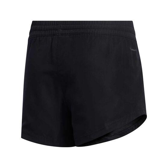 adidas Girls Climalite Woven Shorts, Black / White, rebel_hi-res