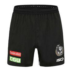 Collingwood Magpies 2020 Mens Training Shorts, Black, rebel_hi-res