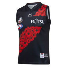 Essendon Bombers 2020 Mens Anzac Guernsey Black/Red S, Black/Red, rebel_hi-res