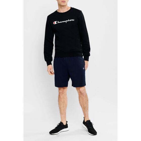 Champion Mens Script Crew Sweatshirt, Black, rebel_hi-res