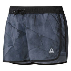 Reebok Womens Workout Ready All Over Print Shorts Black XS, Black, rebel_hi-res