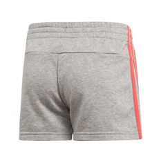 adidas Girls Essentials 3 Stripes Shorts Grey / Pink 4, Grey / Pink, rebel_hi-res