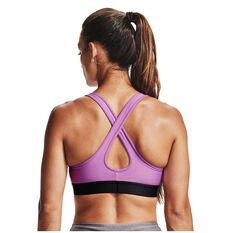 Under Armour Womens Mid Crossback Sports Bra Purple XS, Purple, rebel_hi-res