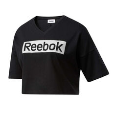Reebok Womens Training Essentials Linear Logo Tee Black XS, Black, rebel_hi-res