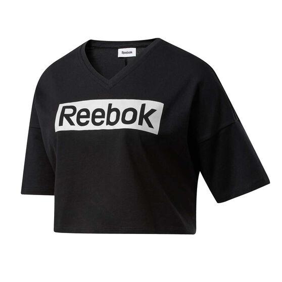 Reebok Womens Training Essentials Linear Logo Tee, Black, rebel_hi-res