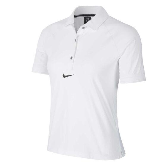 Nike Womens Court Tennis Polo, White, rebel_hi-res