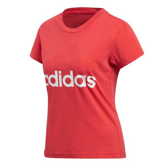 adidas Womens Essentials Linear Tee Coral / White XS Adult, Coral / White, rebel_hi-res