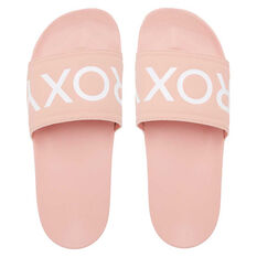 Roxy Slippy II Womens Slides Pink/White US 6, Pink/White, rebel_hi-res