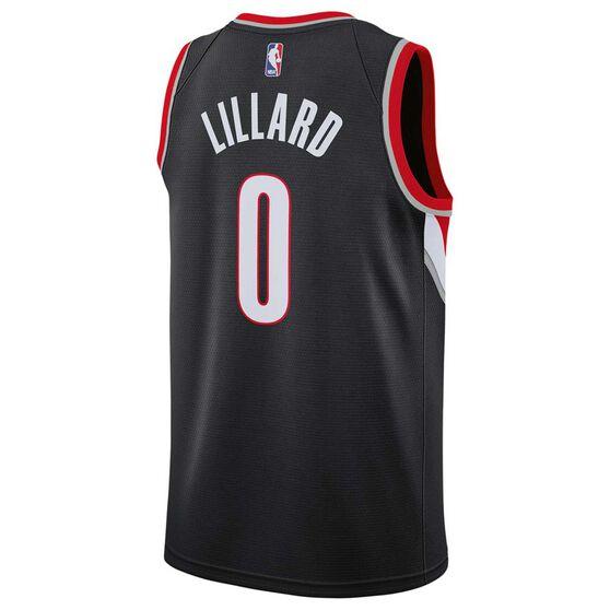 Nike Portland Trailblazers Damian Lillard 2019 Mens Swingman Jersey, Black, rebel_hi-res