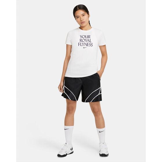 Nike Womens Dri-FIT Royal Flyness Basketball Tee, White, rebel_hi-res