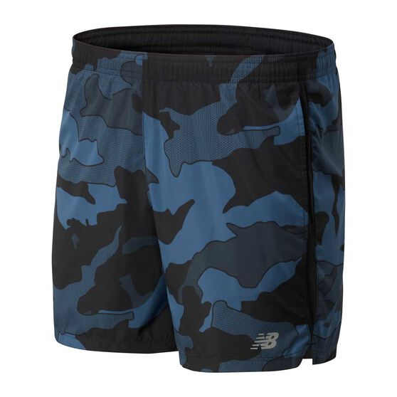 New Balance Mens Printed Accelerate 5in Running Shorts, Black, rebel_hi-res