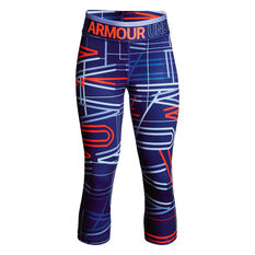 Under Armour Girls HeatGear Armour Capri Tights Blue / Red XS, Blue / Red, rebel_hi-res