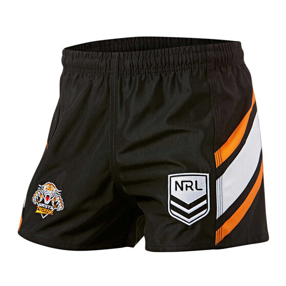 Wests Tigers Mens Home Supporter Shorts, Black, rebel_hi-res