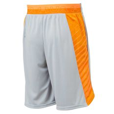 Under Armour Boys MK-1 Shorts Grey / Orange XS, Grey / Orange, rebel_hi-res