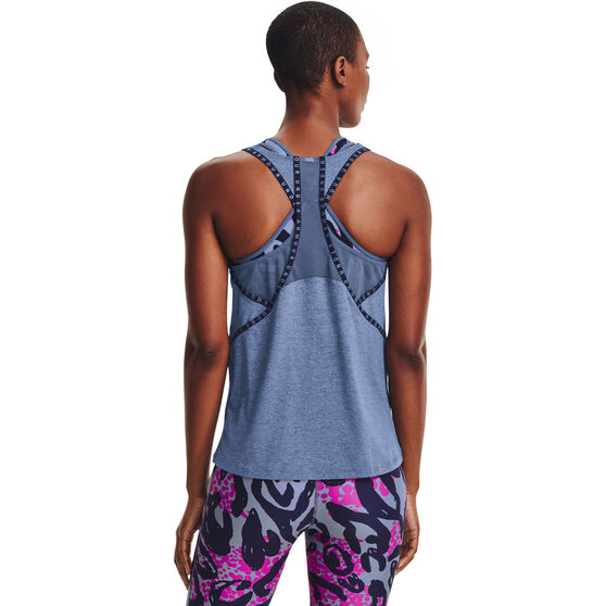 Under Armour Womens Knockout Mesh Back Tank, Blue, rebel_hi-res