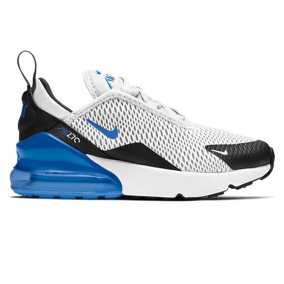 Nike Air Max 270 Kids Casual Shoes, White/Blue, rebel_hi-res